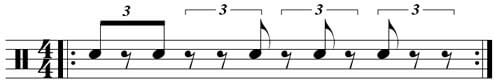 Rumba Clave עם Feel של 6/8 בתיבת 4/4