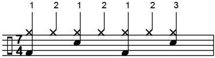 מקצב רוק פשוט ב-7/4 עם חלוקה ל-2+2+3